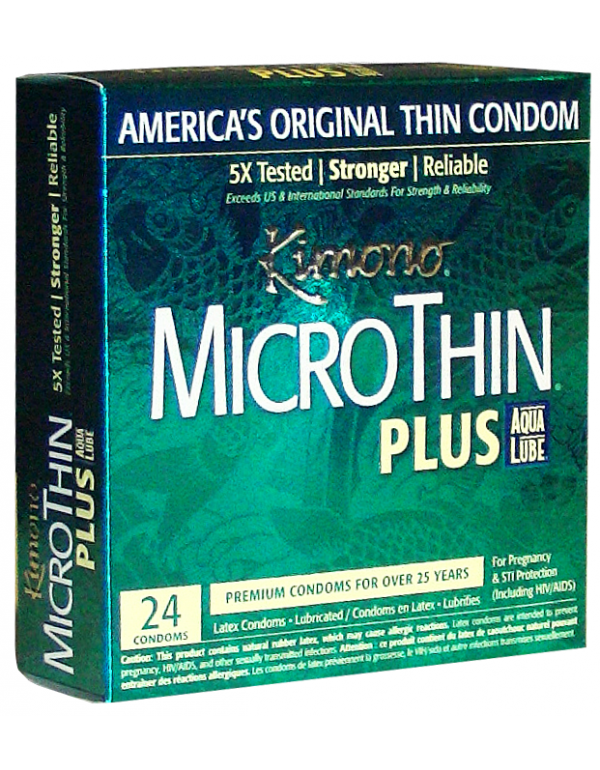 Kimono® MicroThin Condoms - Ultra Lubricated with AquaLube (24-Pack)